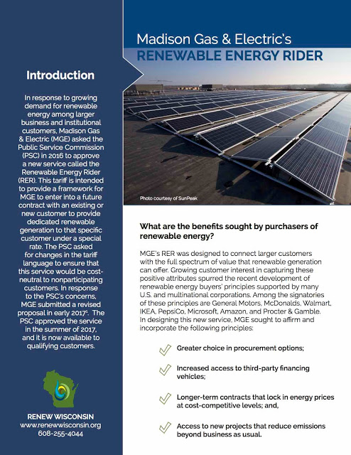 """Madison Gas & Electric's """"Renewable Energy Rider"""" Ready for Action"""