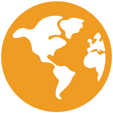 Orange circle globe