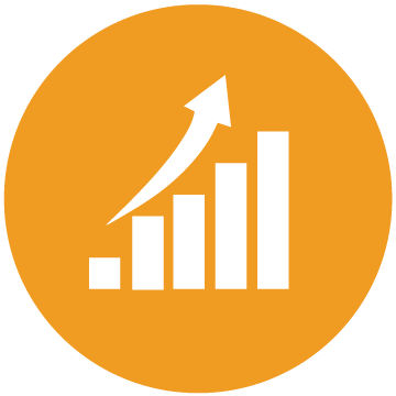 Orange circle with ascending bar graph and upward arrow