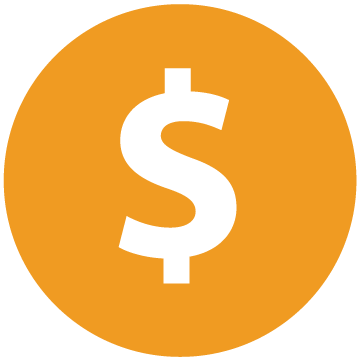 Orange circle with dollar sign icon.