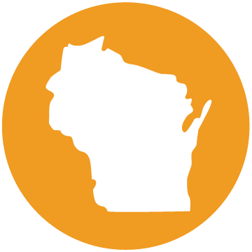 Orange circle with white Wisconsin state in center