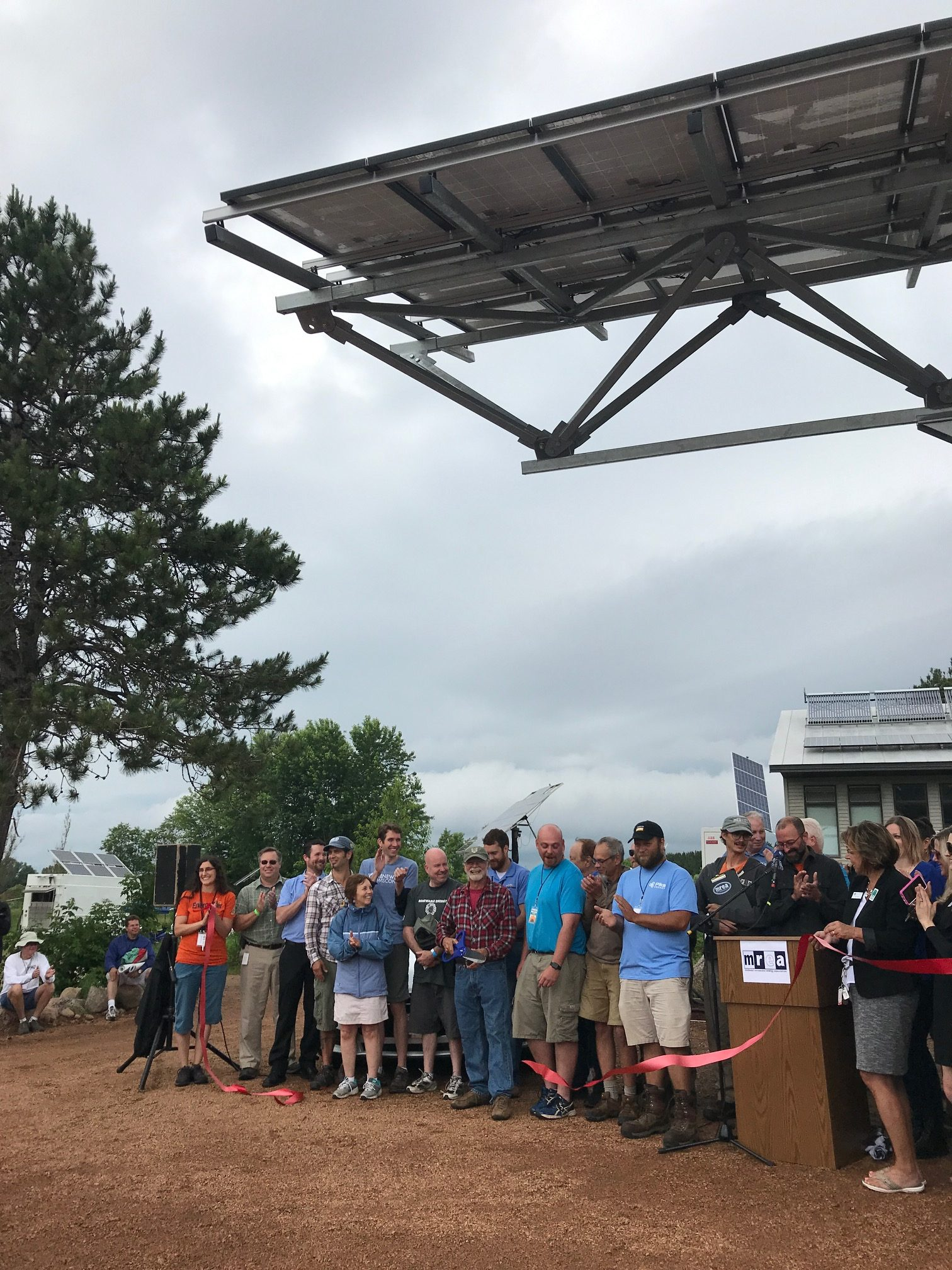 Dedication of the Driving on Sunshine carport, a Solar for Good grant recipient.
